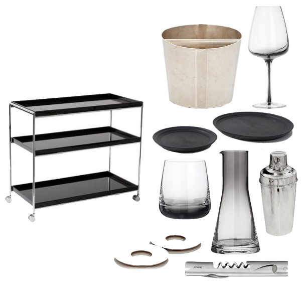 KARTELL -  Bar Cart , CHRISTOFLE -  K&T Ice Bucket , OATES & CO -  Smoked Wine Glass , IFUJI -  Black Round Trays , 1STDIBS -  Vintage Tiffany & Co Shaker , BLOOMINGVILLE -  Smoked Carafe , BLOMUS -  All In One Bar Tool , CHRISTOFLE -  Oh Coasters , BROSTE COPENHAGEN -  Smoked Glass Tumbler