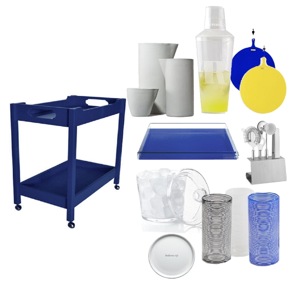 OOMPH -  Bar Cart , KAUFMANN-MERCANTILE -  Handmade Ceramic Carafe , MARK & GRAHAM -  Acrylic Cocktail Shaker , DUTCH DELUXES -  Color XL Round Boards , WILLIAMS SONOMA -  Stainless Steel Bar Tools , MARCH -  Spiral Cups , KATE SPADE -  Coaster Set , CRATE & BARREL -  Pacific Ice Bucket , AHALIFE -  Acrylic Tray