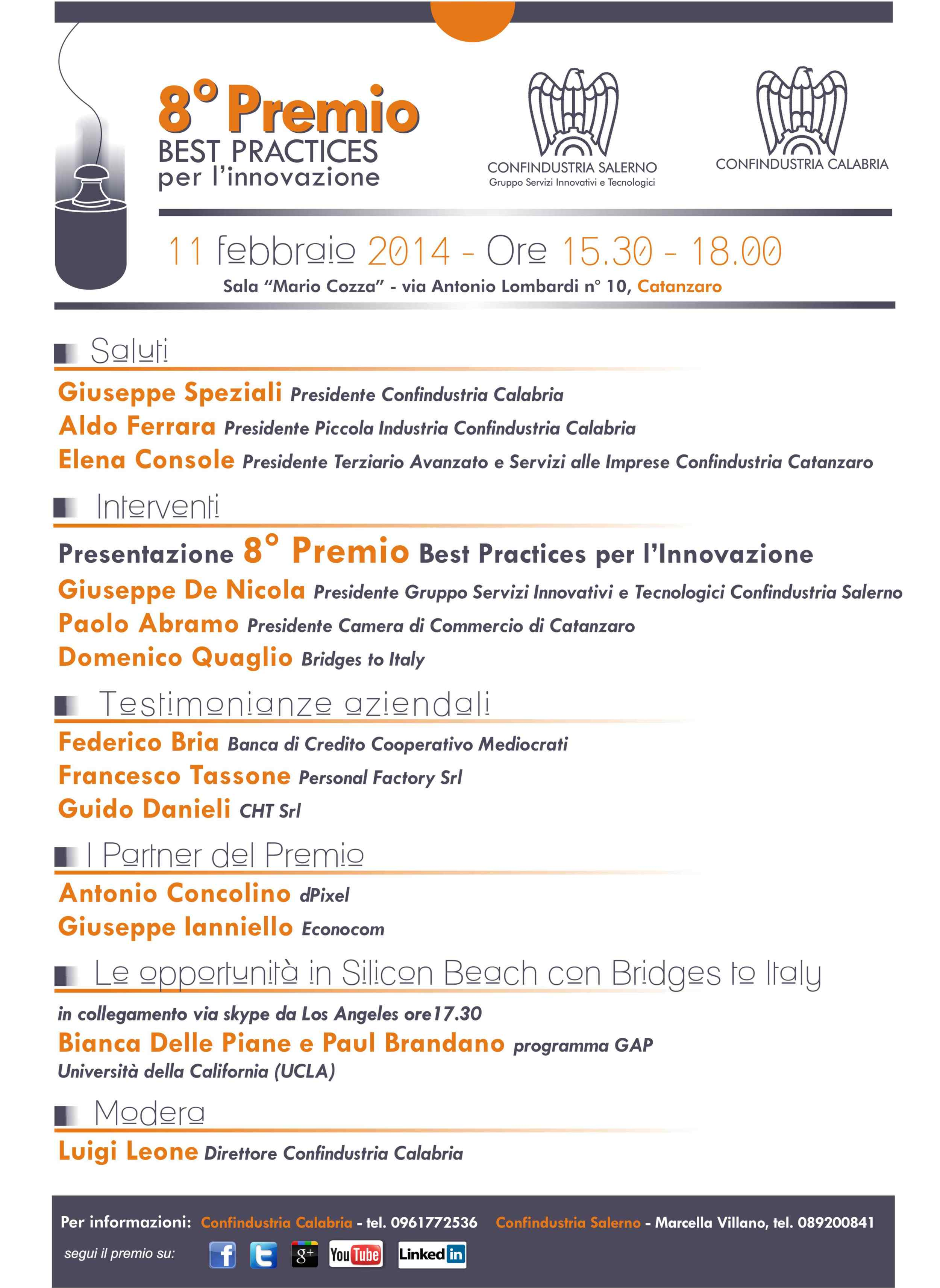Bridges to Italy at the Presentation of Premio Best Practices in Calabria