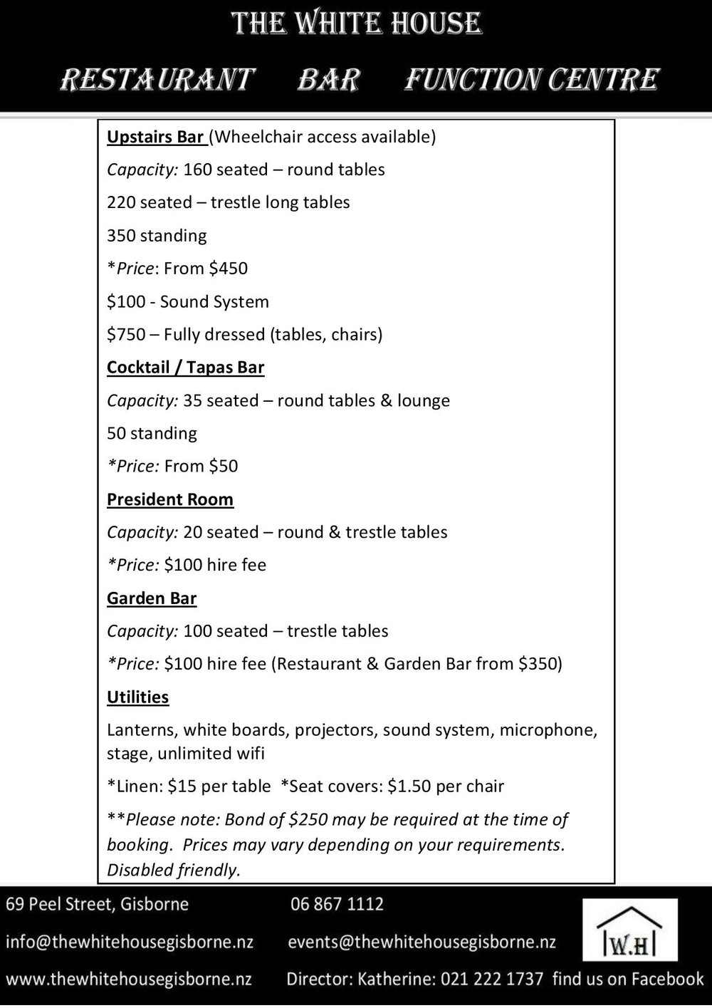 Download the  Function space hire fee PDF here