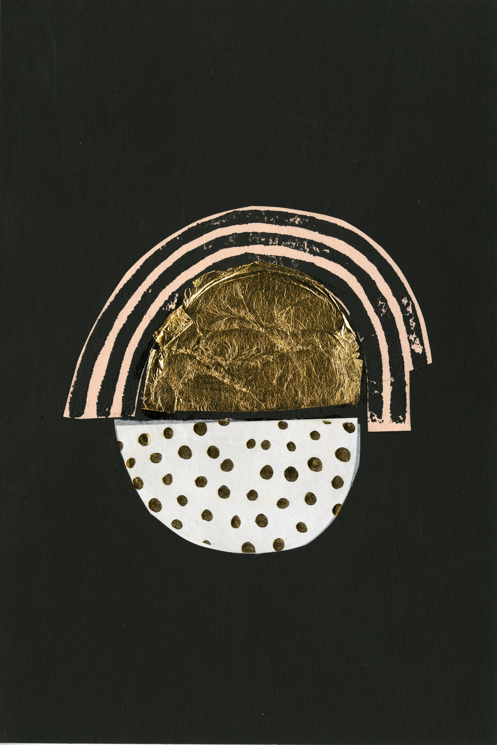 "6"" x 9"" Collage on paper. Gold foil and block-print detail.    SOLD"