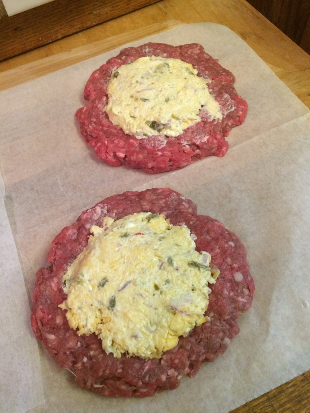 Fill each patty with the jalepeño filling and top with the remaining patty.