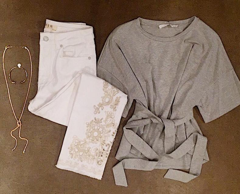 free people white jeans tie top casual outfit