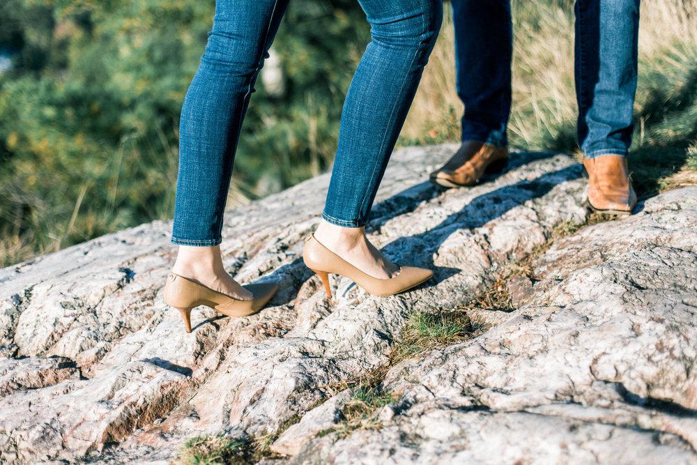 Girl was hiking in heels! Amazing.