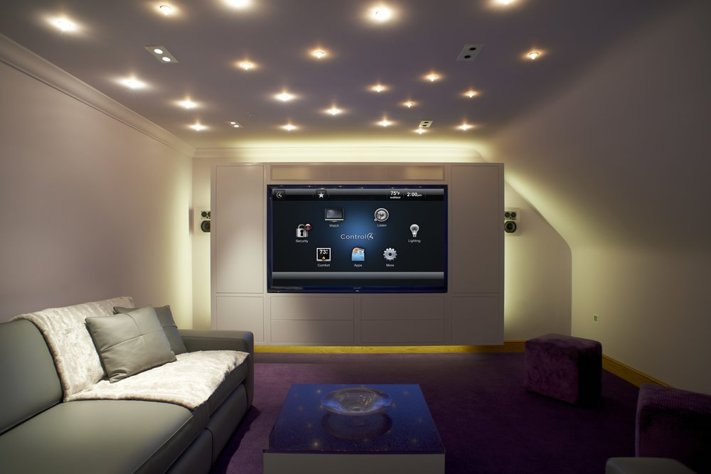 A Cape Cod home theater system by New England Home Automation