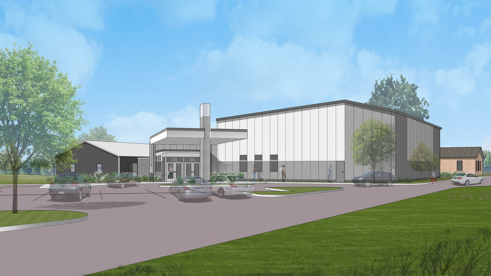 phase 1 exterior of the multi-purpose worship/gymnasium.  This view is from the southeast perspective