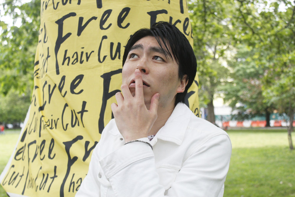"""Toru (Event Planner, Artist)   Toru is a Free Cut NYC Event Planner and Artist from Japan who currently works and lives in New York.  """"Enjoy the peaceful moment with having hair cut outside!"""" — Toru  Web:  http://www.toruizumida.com   Instagram:  @toruizumida"""