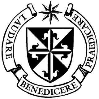 "The Dominican seal, with the motto ""To praise, to bless, to preach"" around the shield."