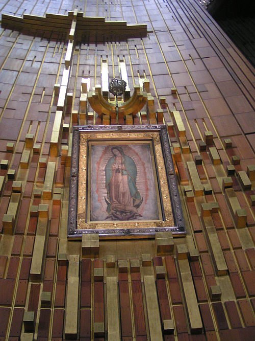 the original tilma in the Basilica of Our Lady of Guadalupe, Mexico City, Mexico. The basilica is the most visited Catholic pilgrimage site in the world, and the world's third-most visited sacred site.