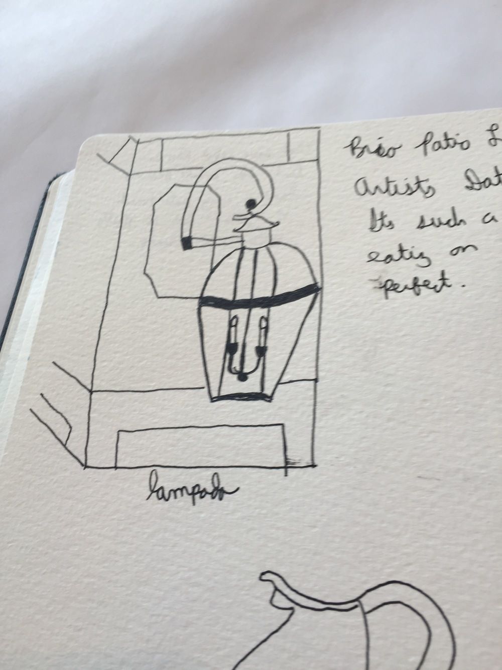 Lunchtime sketching--lamp and a wonky pitcher. :-P (I was trying to do single line contour on that guy, so....)