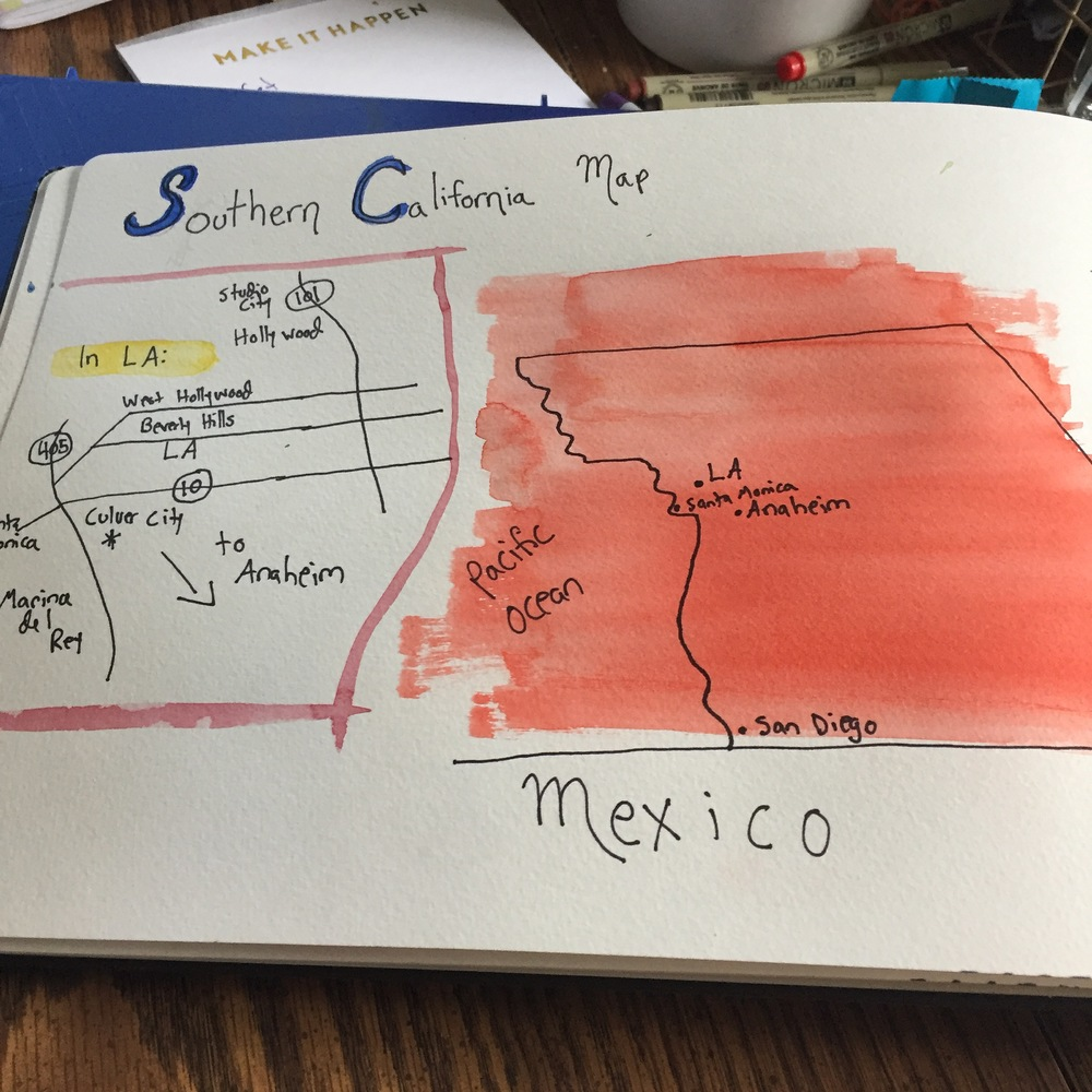 A page in my big watercolor sketchbook detailing the SoCal trip with two maps--a larger (and wonkier) one with the general area, and then a more detailed one of LA and environs proper. I do have a travel sketchbook, but sometimes I want the larger pages.