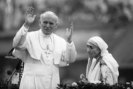 two saints in a photograph: Pope St. John Paul II and Mother Teresa.