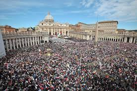 The crowd at the canonization of John Paul II and John XXIII.