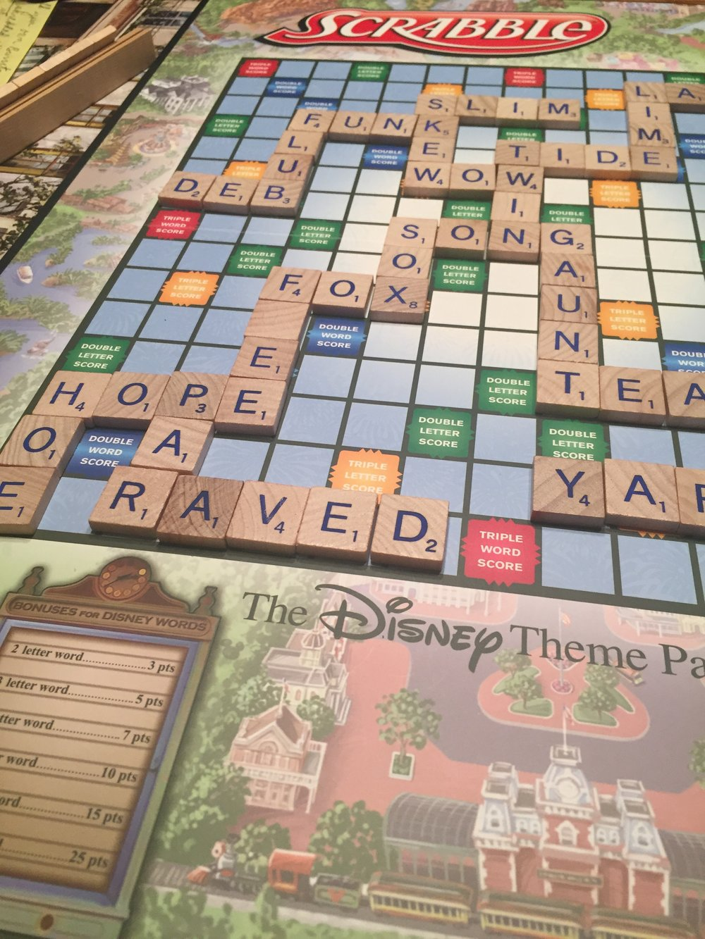 "Played Disney Scrabble over the weekend. There are four ""Disney words"" in this puzzle: Song, Fox, Deb, and Hope. Do you know why? (Answers at the bottom)"