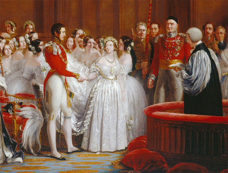 Victoria and Albert's wedding in the Chapel Royal of St. James Palace, February 10, 1840.