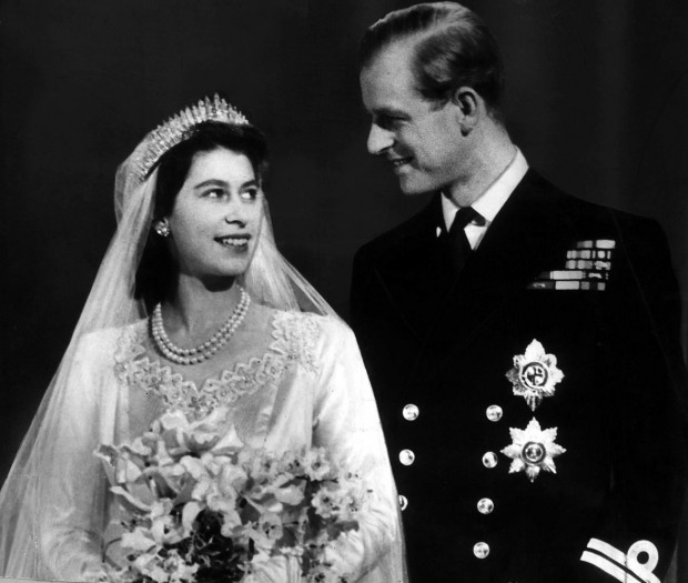 Princess Elizabeth and Philip on their wedding day.