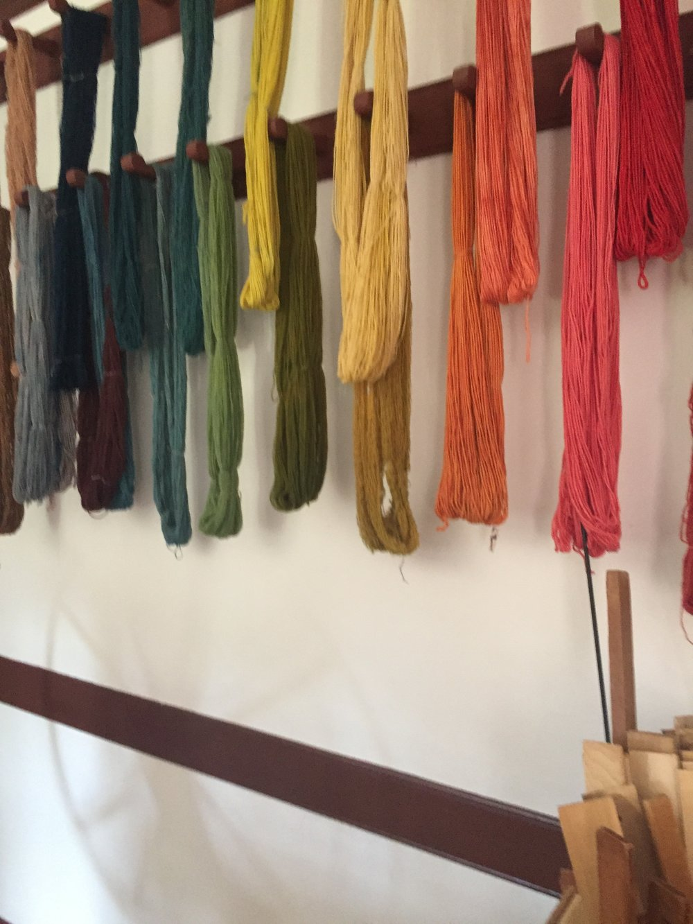 Freshly dyed yarn in the weaver's shop at Colonial Williamsburg