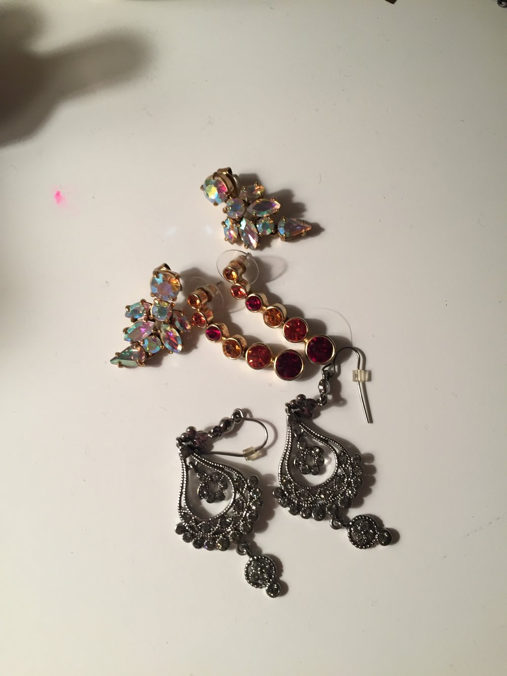 A better look at the earrings I wore--the middle pair. The top is J.Crew, the middle and bottom are Touchstone Crystal. These are my earrings, but Stitch Fix does also style jewelry!