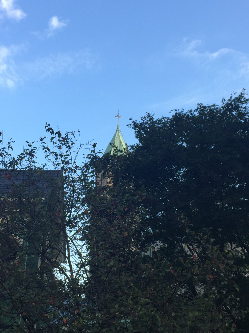 The chapel spire from the garden
