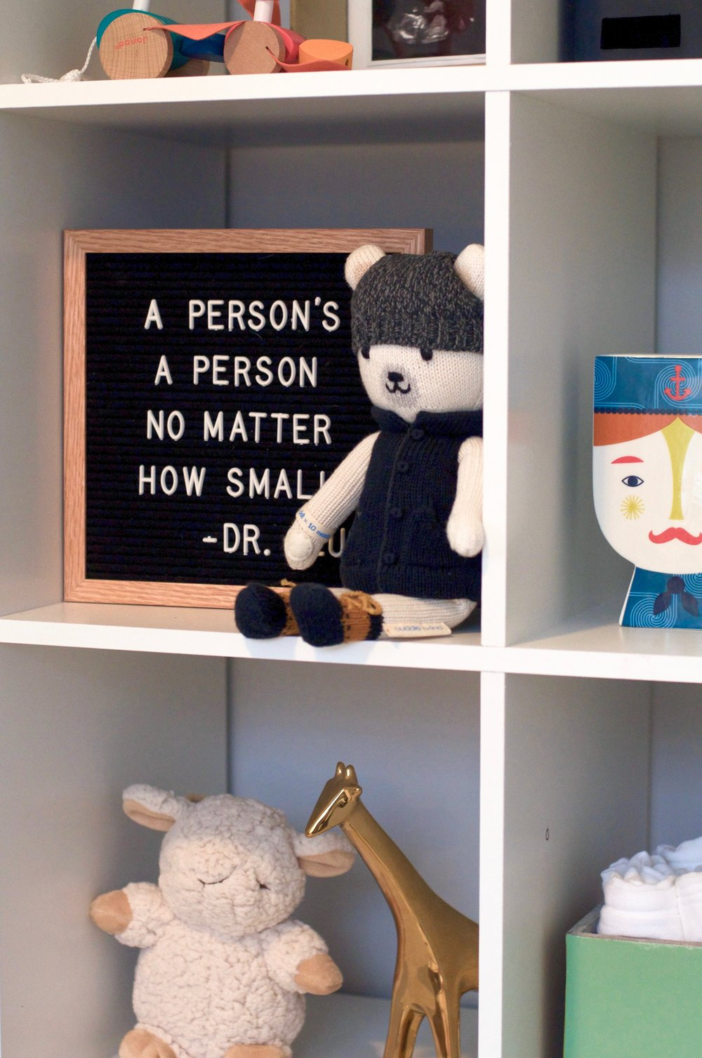 shelving  |  letterfolk board  |  polar bear  |  piggy bank  |  sleep sheep  |  giraffe  | cement bin (old  Tiny Finch  find)