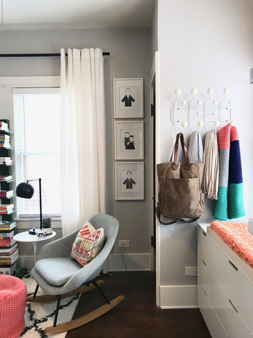 lamp  |  rocker  |  side table  |  rug  | pouf ( similar ) |  plant  | bowl (old Anthro find) | bookshelf ( similar ) |  dresser  |  architect prints  |  hang-it-all  |  solly wraps  |  diaper bag  |  curtains  |  curtain rod  |  changing pad cover