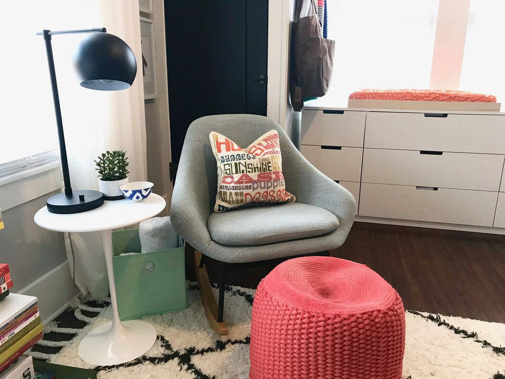 lamp  |  rocker  |  side table  |  rug  | pouf ( similar ) |  plant  | bowl (old Anthro find) |  storage bin  |  dresser  |  changing pad cover  |  curtains