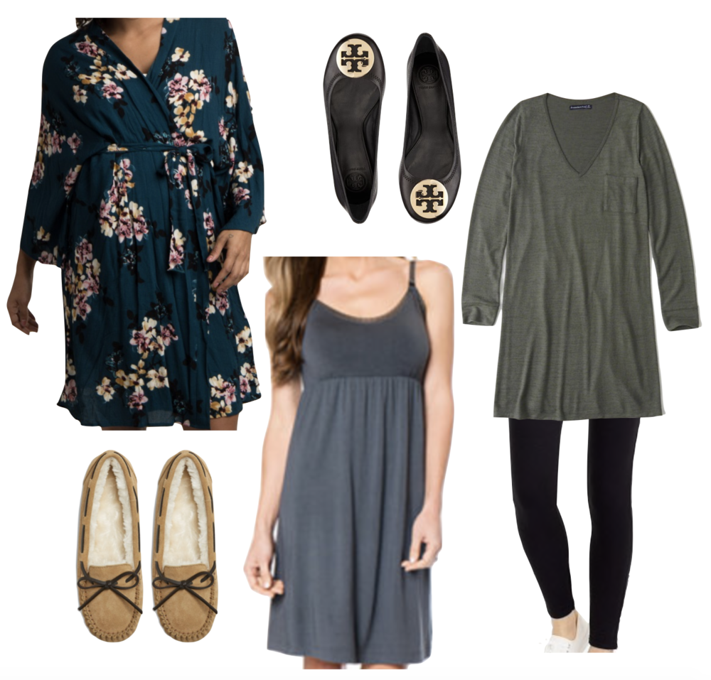 Robe  |  Black Flats  |  Jersey Dress  |  Leggings  |  Nursing Nightgown  |  Slippers