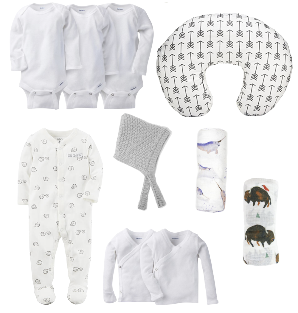 Long Sleeved Onesies  |  Boppy  (we have this  Cover ) |  Hedgehog Pajamas  |  Knit Bonnet  |  Narwhal Swaddle  |  Bison Swaddle  |  Long Sleeved Kimono Shirts