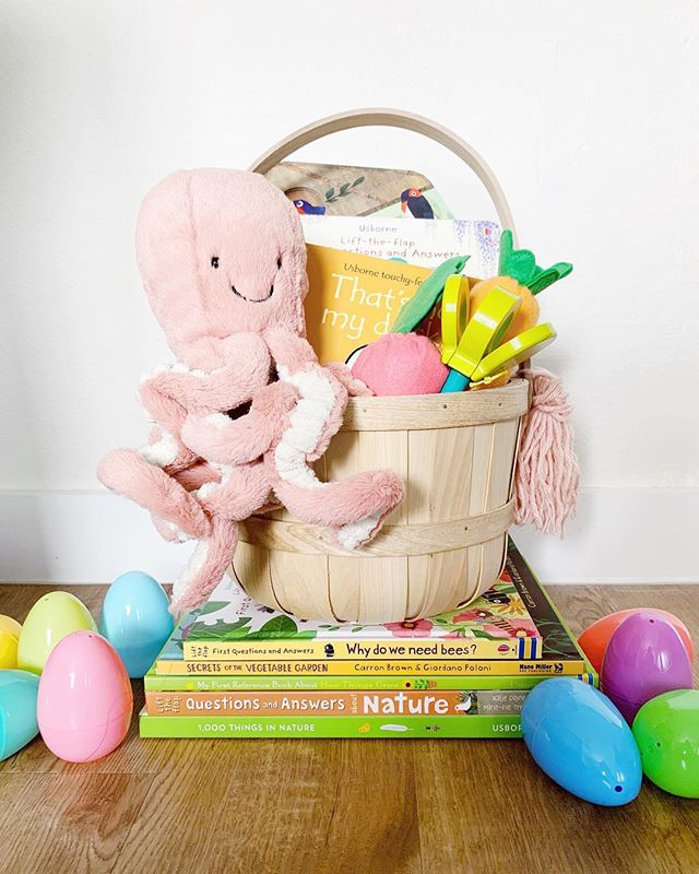 With Easter just a few weeks away I wanted to share a little peek inside what we're putting in Olivia's Easter basket on the blog today. I don't love the idea of filling her basket with sweets and treats, so instead we filled it with things that she will enjoy for a long time 🐰🐣 Link in profile | #yourmodernbaby