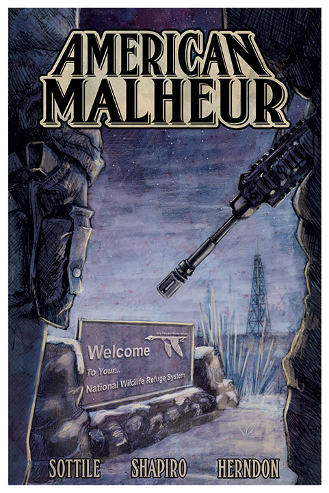 American Malheur was meant to be a 7 issue graphic novel series about how fundamentalism shaped the American west. The comics would touch on many historical events but the narrative would have been framed by the events and people involved in the 2016 occupation of the Malheur Wildlife Refuge. Sadly, this project was shelved before it was finished. The work here is unfinished but presented for posterity.