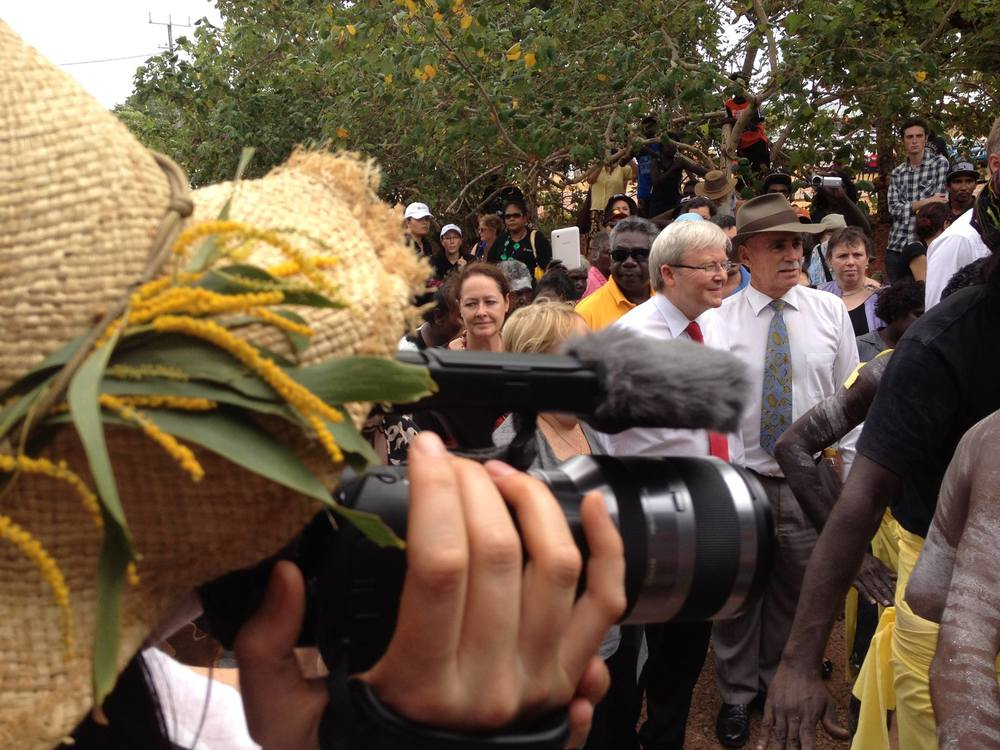 Filming the 50th Anniversary of the Bark Petition, Yirrkala, Northern Territory, Australia. Photo credit: Julian Laffan.