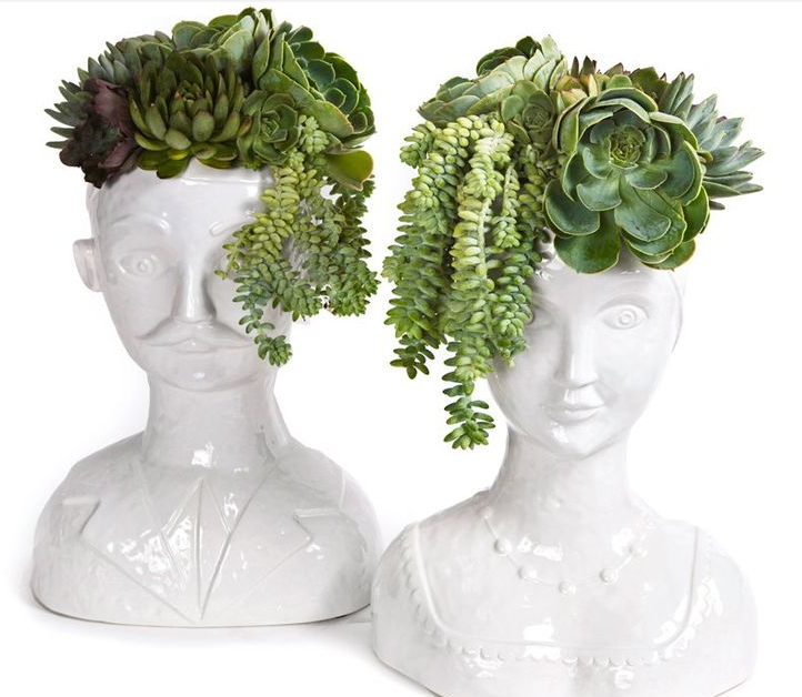 Floral Art:  Male & Female Bust  Vases $300