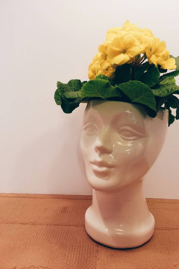 ETSY: Handmade  Ceramic Female Head Planter  $35