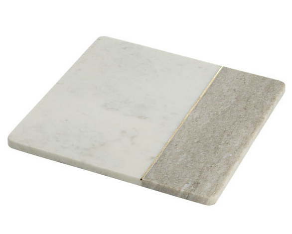 Divide Marble Server  $29.95 Simple and elegant way to serve a light cheese platter or a sampling of mini avocado toasts.