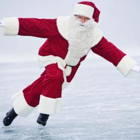 Ice Skating Santa in Modesto