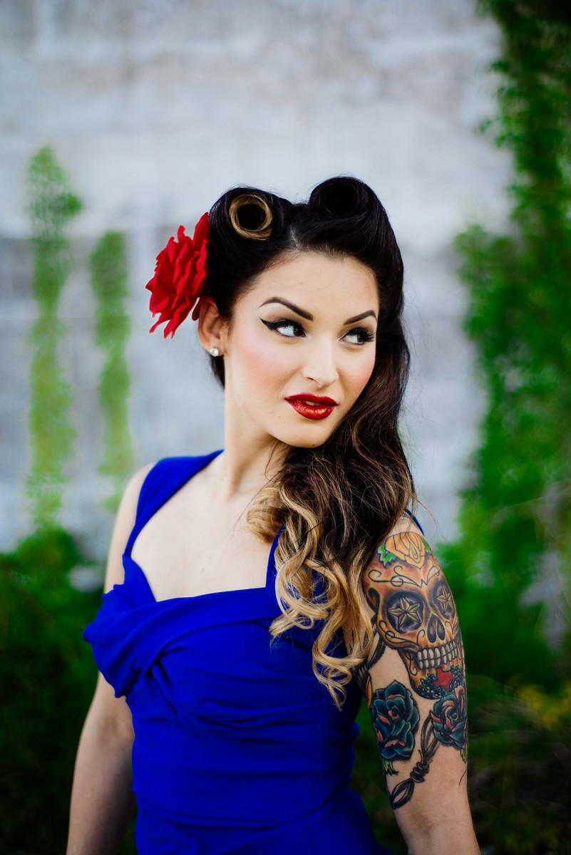 pin up style makeup and hair for engagement photos! - orange