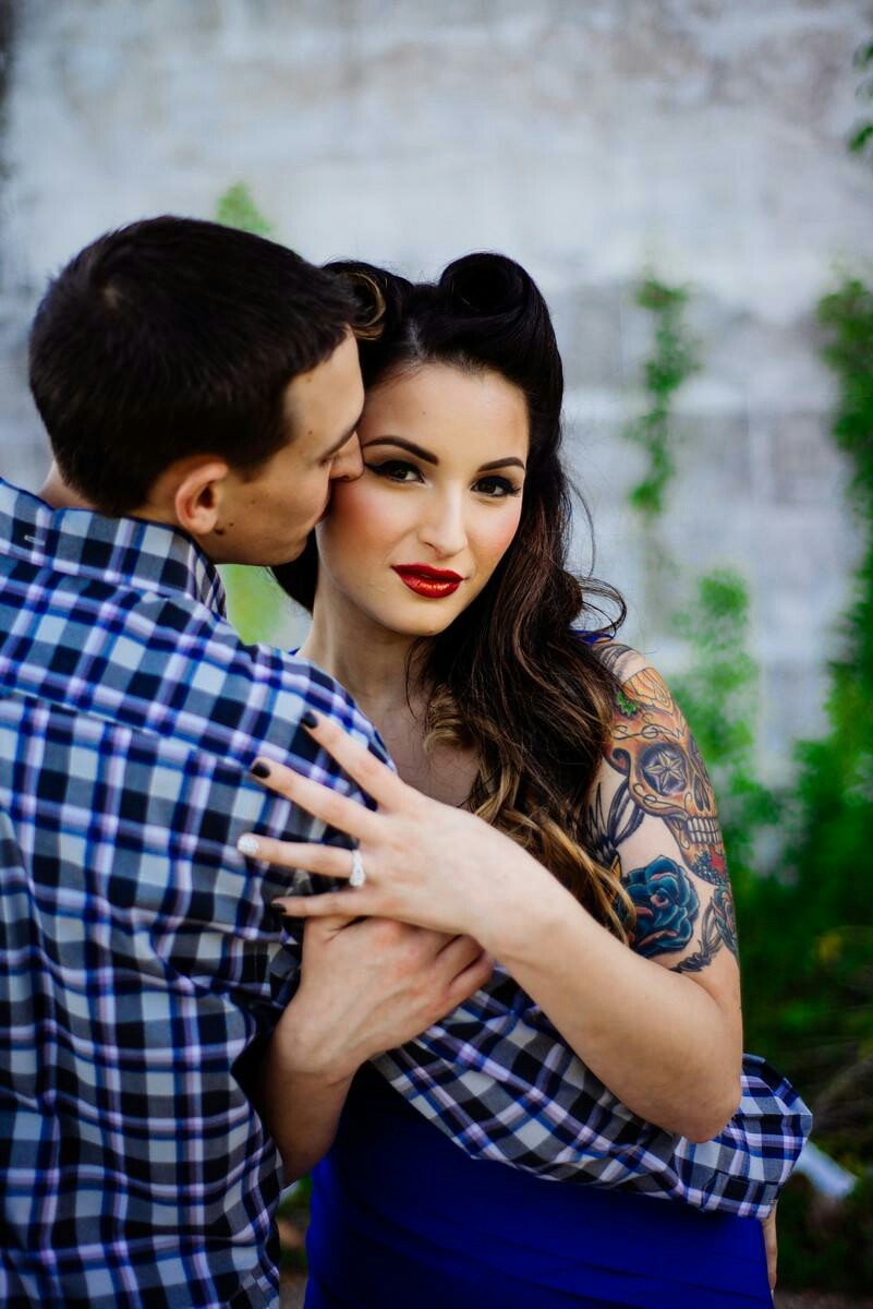 engagement photo makeup and hair pin up