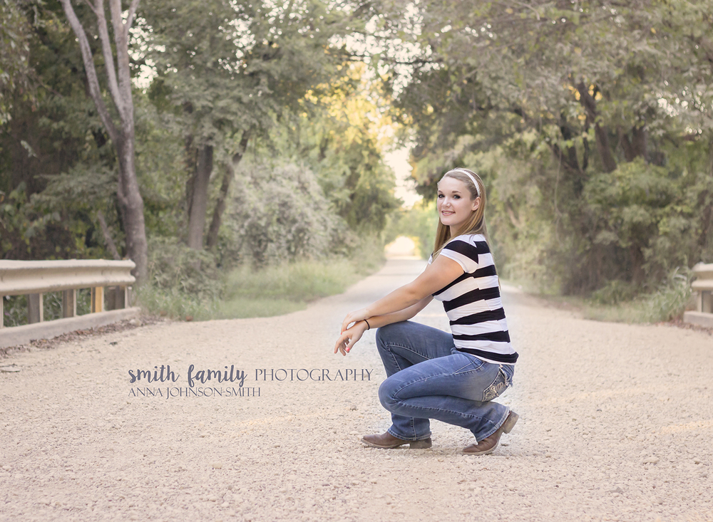 The bridge on Thompson Road in Mart, Texas is a great location for portraits!