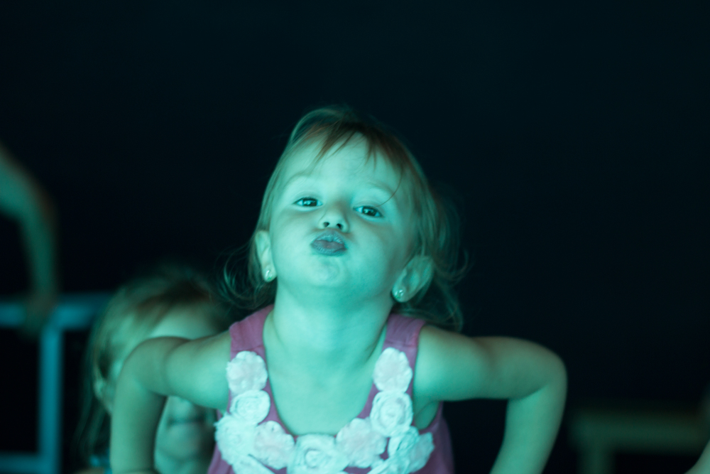 Our youngest making an unexpected kissy face while visiting the Texas State Aquarium.