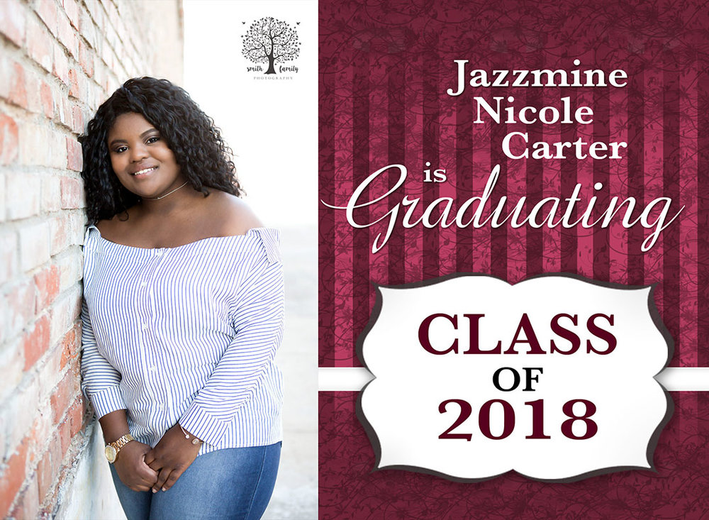 Personalized graduation announcement for Jazzmine