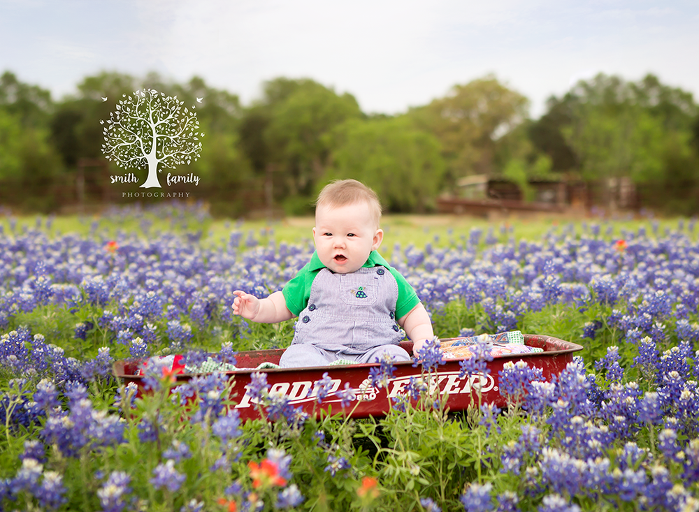 Baby Caleb enjoying a wagon ride in the bluebonnets.
