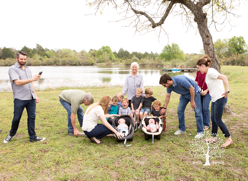 A hilarious peek at the photo with the eight grandsons and grandma.  They were NOT about cooperating for this photograph at all!