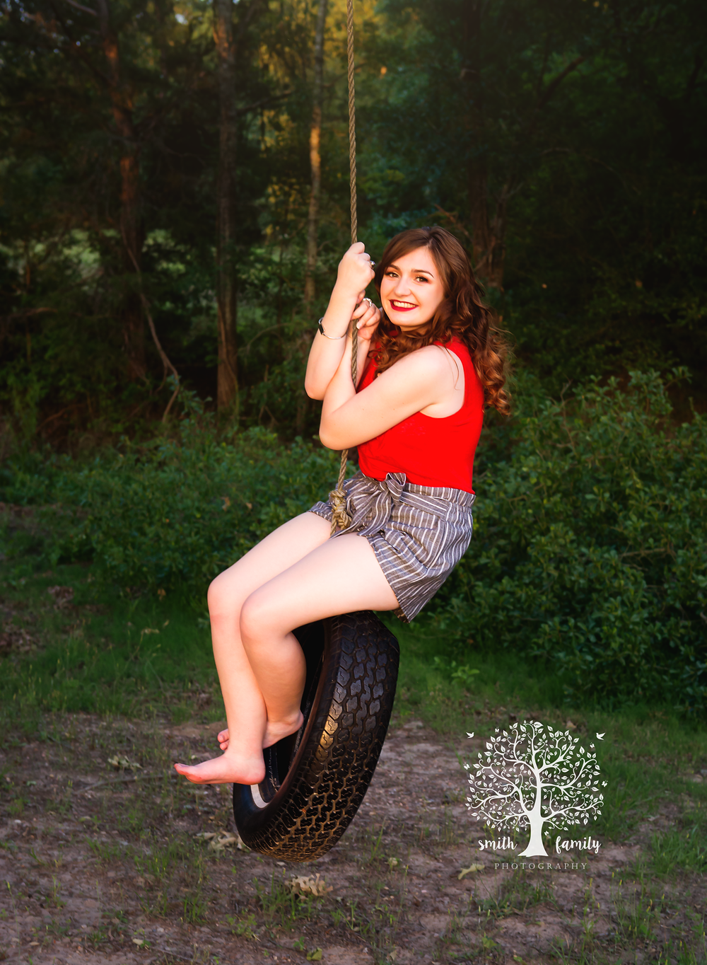 """I was blessed to be gifted a session with Anna by a sweet friend. I opted to use the session for my granddaughter's Senior pictures and did I ever make the right decision!! Anna took us to her family land where there were beautiful trees, a tire swing, cactus, a covered bridge and a small cabin. The pictures that she captured with Kyleigh are AMAZING and IRREPLACEABLE!!! She was so sweet and personable and she made us all feel right at home. She was even ok wirh Kyleigh's request to shoot a few of Kyleigh and her boyfriend. I had never met Anna before the shoot but now I feel as if I've known her for a very long time. I had a terrible time with the technical aspect of everything and she was so sweet and accommodating to stay on the phone with me and walk me thru step by step, what I needed to do. All in all this experience has been flawless and so much fun and I will certainly be using Smith Family Photography for all my photography needs in the future."" - Susie A."