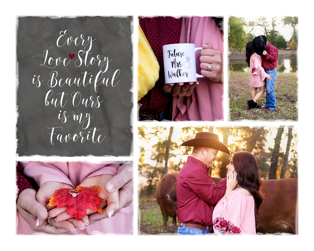 A collage of images from  Tobie and Chad's engagement session.