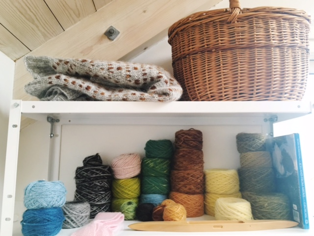 Plant-dyed and handspan yarn in our host's studio.