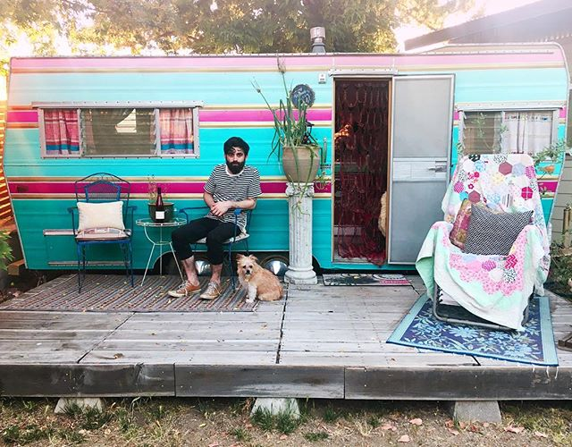 Rainbow trailer dreaminess. Composting toilet, tiny dog and all 💕
