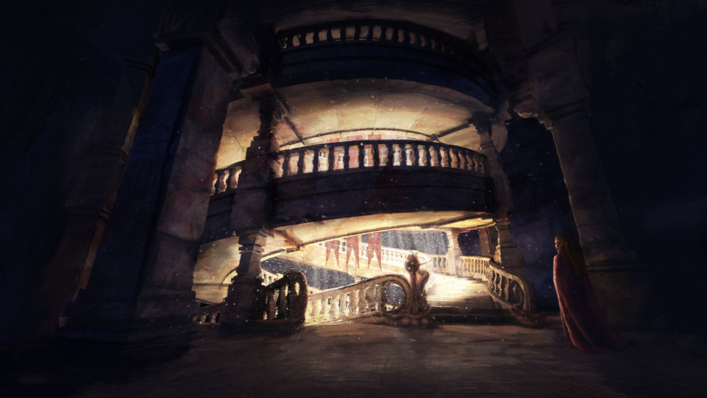 Beauty and the Beast - Tapering double helical stairs - Concept Design and Illustration by Stevo