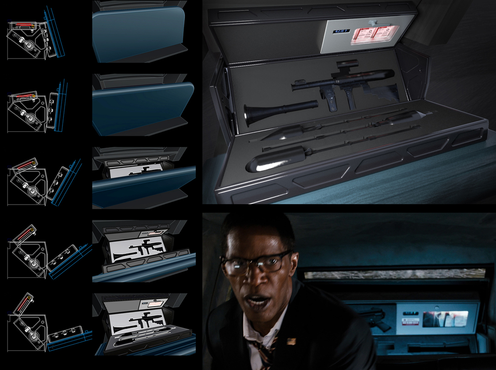 White House Down (2013) - Articulated rocket launcher case for President's limo - Concept Design, Illustration and Animation by Stevo