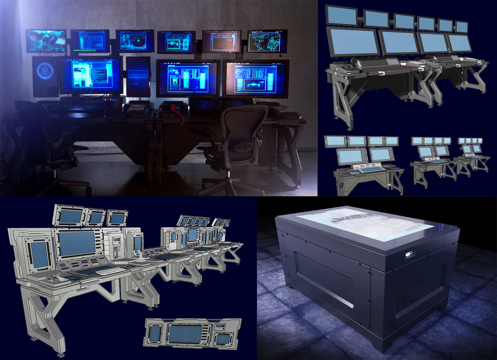 White House Down - Modular Consoles reconfigured in multiple sets - Concept Designs by Stevo
