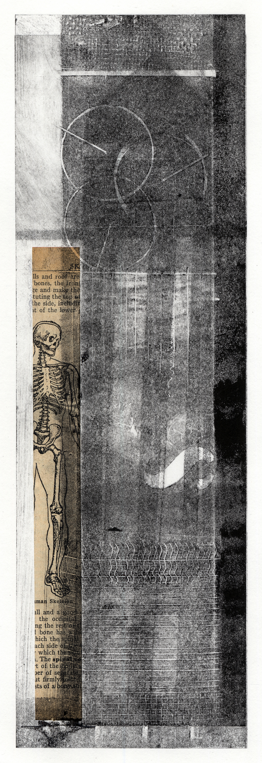 A tall monotype print with collage elements by Clive Knights